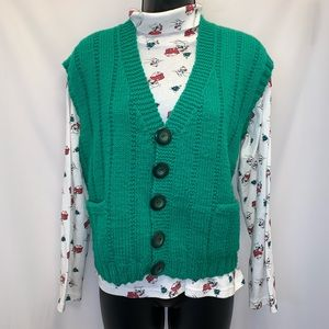 Sweaters - Green Crocheted Christmas Vest